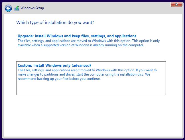 选择 Windows 的安装方式