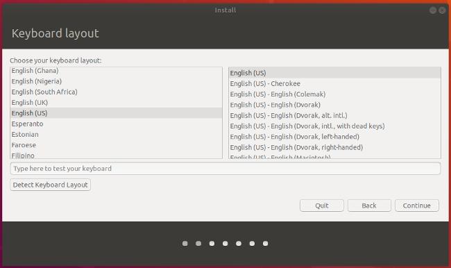 选择 Ubuntu 的键盘